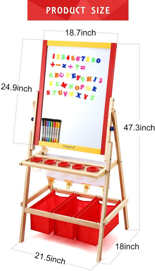 Kids Art Easel-Double Double Sided W/Art Accessories - Magicfly