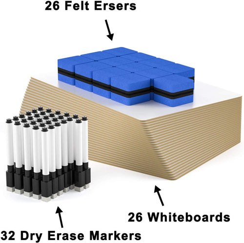 Dry Erase Lap Boards Set-W/ 32 Pens, 26 Erasers, 9 x 12 Inches Portable Whiteboard - Magicfly