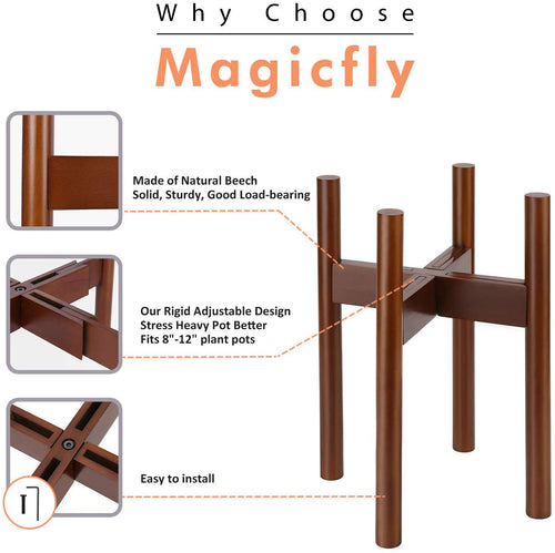 Adjustable Plant Stand-For 8-12 Inch Plant Pots, Brown - Magicfly