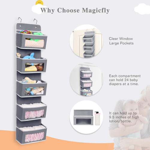 Door Hanging Storage Organizer, W/ 5 Large Pocket, Clear Windows - Magicfly