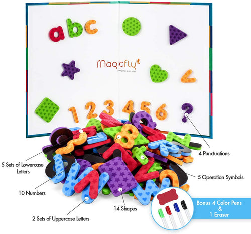 Alphabet Magnets-221Pcs W/Foldable Magnet Board & Storage Box - Magicfly