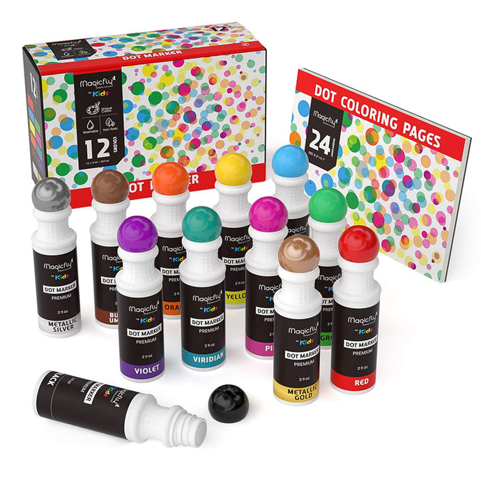 Washable Dot Markers - 8/12 Colors, Non-Toxic Paint - Magicfly