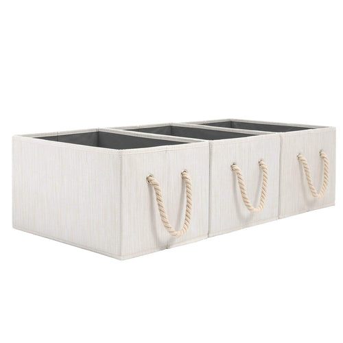Foldable Fabric Storage Bin-14.4 X 10 X 8.3 inch,Beige, Pack of 3 - Magicfly