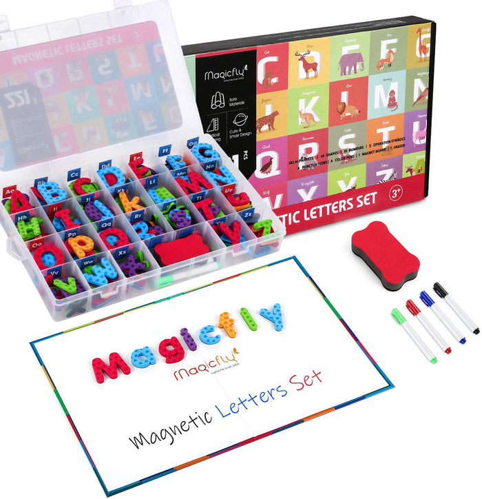 Alphabet Magnets-221Pcs W/Foldable Magnet Board & Storage Box