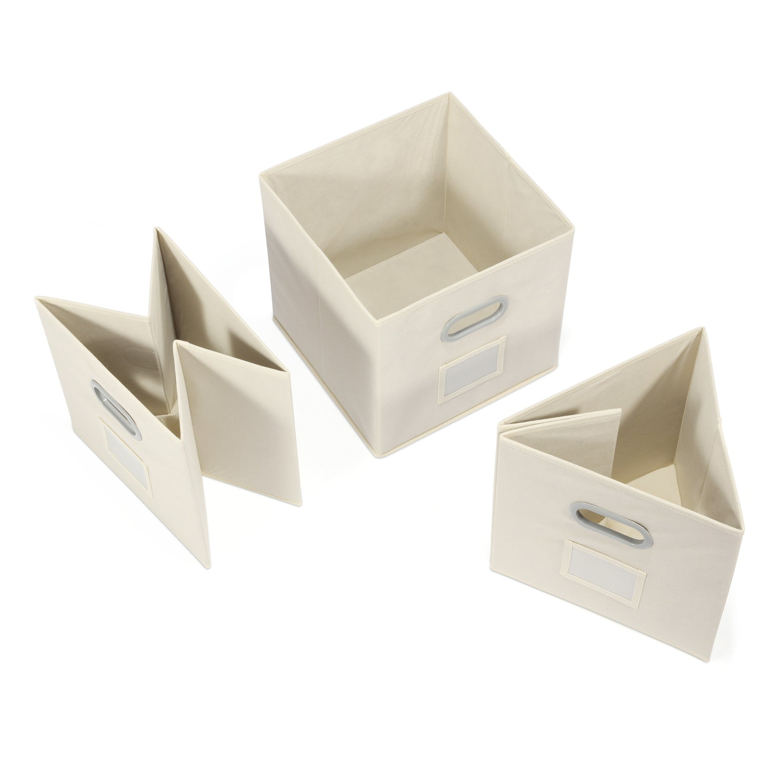Foldable Storage Bins With Label Holders, Magicfly Set Of 6 Collapsible  Cloth Storage Cube With Dual Handles For Closet, Books, Socks, Beige