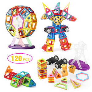 Magnetic Building Blocks with Wheels 120 Pcs,Magnet Tiles Toys for Kids - Magicfly