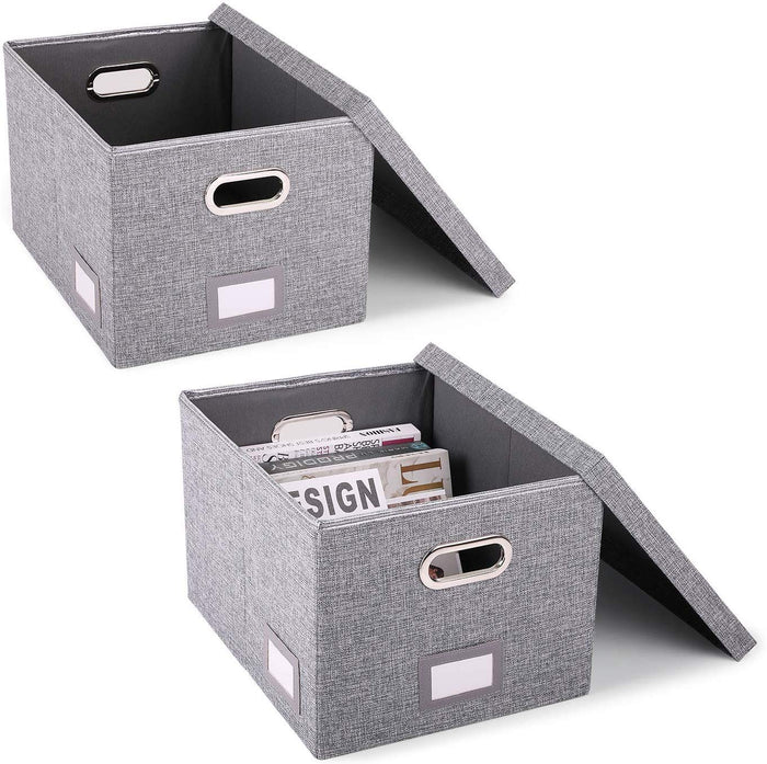 Collapsible File Box-Pack of 2, W/Lid & Handle, Grey