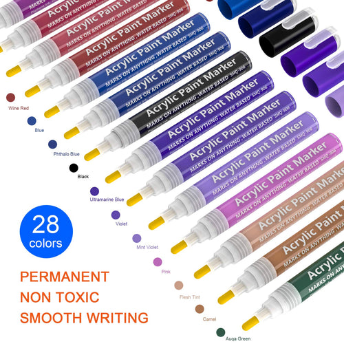 Magicfly Acrylic Paint Markers Pens for Rocks Painting 12/28 colors - Magicfly