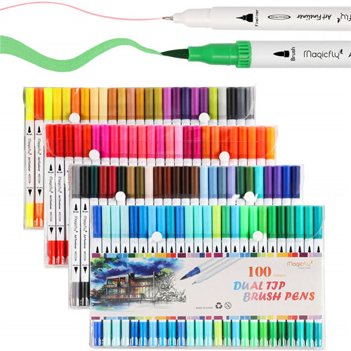 Dual Tip Brush Marker Pens, Tip 0.4 and Highlighters Brush Tip (1-2mm) - 100 Colors - Magicfly