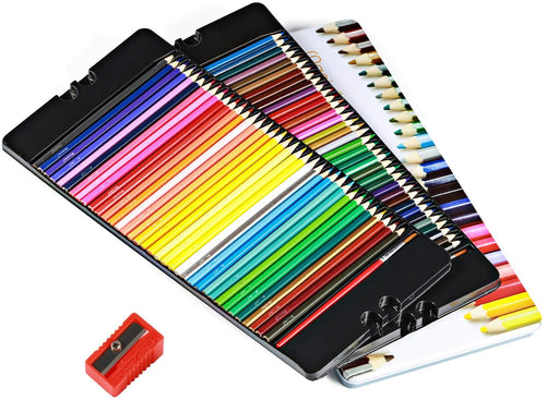 Watercolor Pencils Set-72 Colors, w/2 Brushes,Tin Case,Pencil Sharpener - Magicfly
