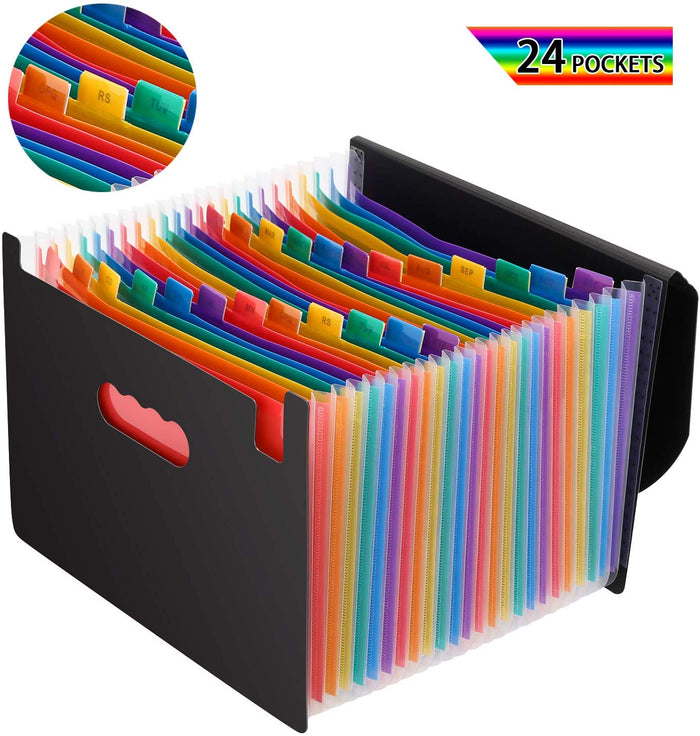 Expandable File Folder-24 Pockets, A4 Letter Size, W/Lid