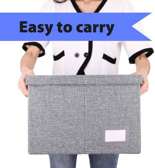 Collapsible File Box-Pack of 2, W/Lid & Handle, Grey - Magicfly