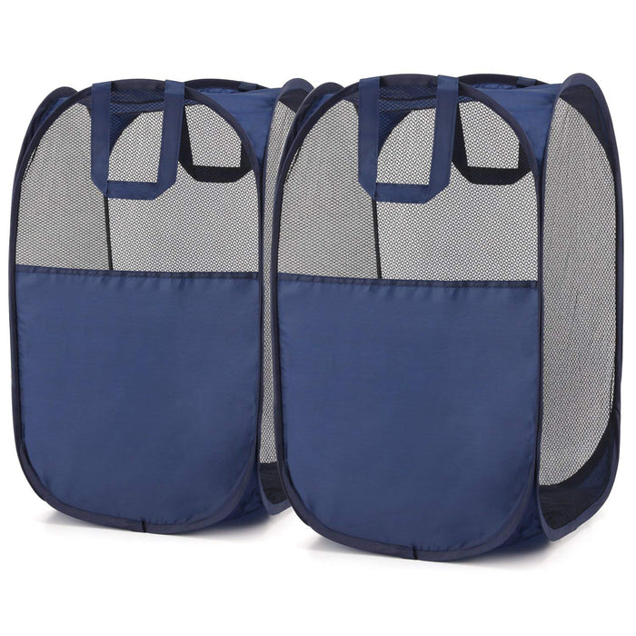 Magicfly  Pop-Up Laundry Hamper, Blue, 2-Pack, Upgraded Version