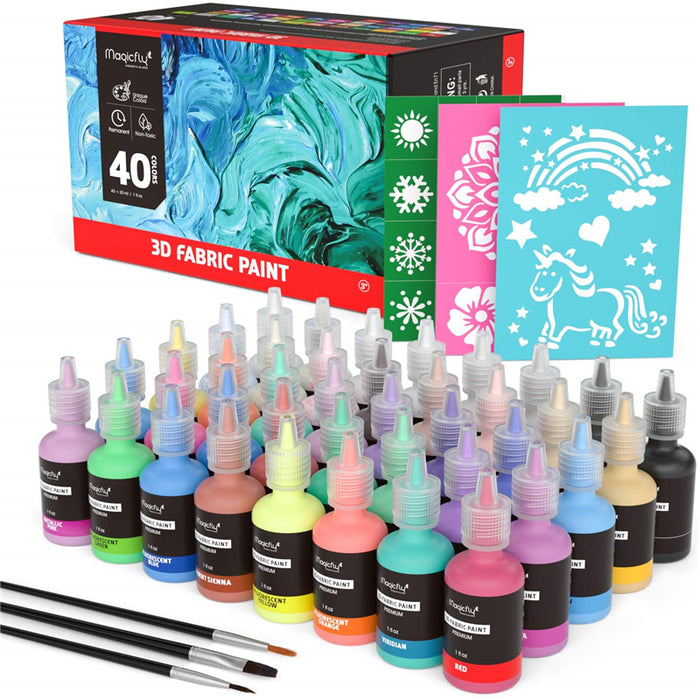 3D Fabric Paint, Fluorescent, Metallic, Glitter & Glow in the Dark-40 Colors, W/3 Brushes and Stencils
