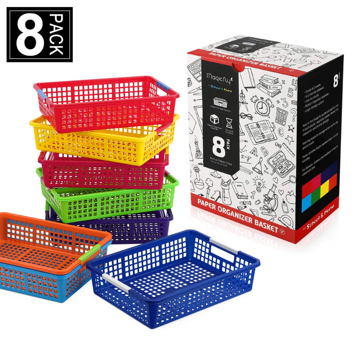 Paper Organizer Basket, W/ 200 Pcs Paper Clips - Pack of 8