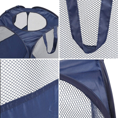 Foldable Pop-Up Laundry Mesh Basket,  Pack of 2, Blue/Deep Blue/Green - Magicfly