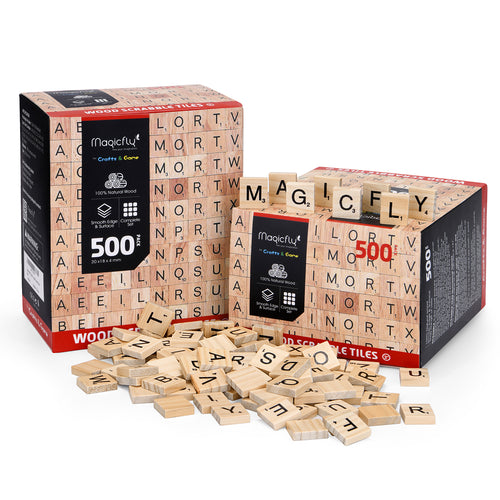 Wooden Scrabble Tiles- 1000 Pcs, A-Z alphabet - Magicfly