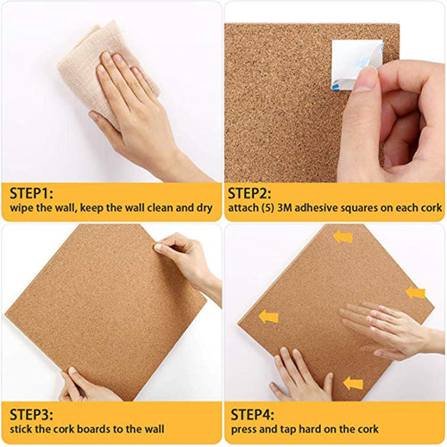 Premium Square Cork Tiles 12 x 12 Inch, 1/2 Inch Thick, Pack of 4,Self-Adhesive Natural Cork Boards with 40 Push Pins - Magicfly