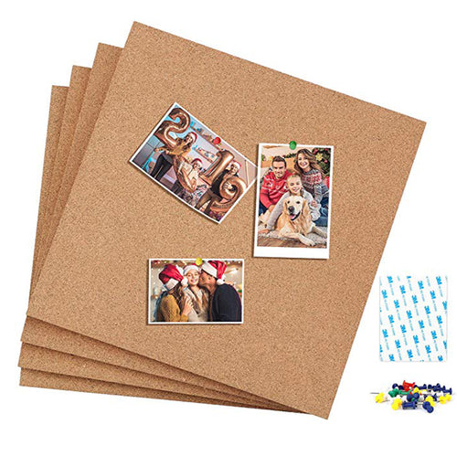 Premium Square Cork Tiles 12 x 12 Inch, 1/2 Inch Thick, Pack of 4,Self-Adhesive Natural Cork Boards with 40 Push Pins