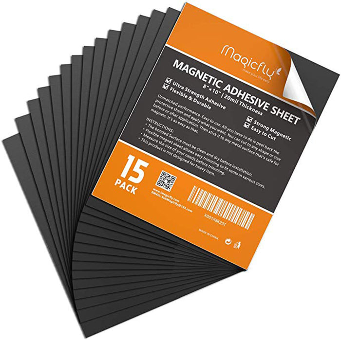 Sheets with Adhesive 8 X 10 Inch,  Pack of 15 Flexible Sticky Magnet Sheet