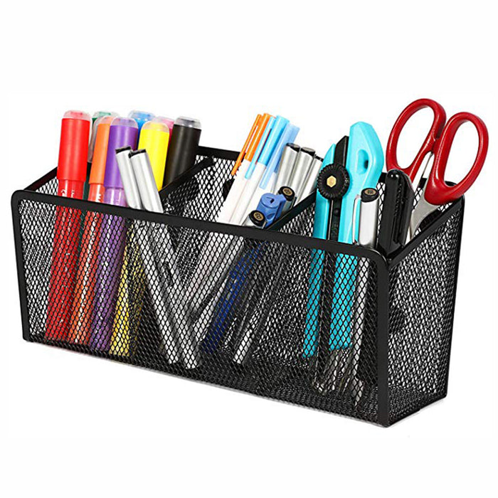 Magnetic Pencil Holder with 3 Generous Compartments Mesh Storage Basket Organizer, Extra Strong Magnets Pen Holder Locker Accessories