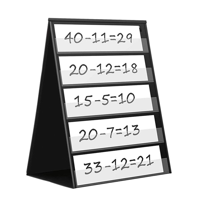 Double Sided Tabletop Pocket Chart, Self-Standing Desktop Pocket Chart with 20 Dry Erase Cards for Small Group Usage in Classroom and Office