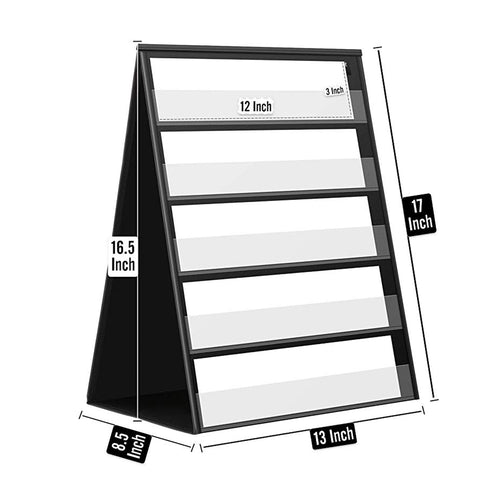 Double Sided Tabletop Pocket Chart, Self-Standing Desktop Pocket Chart with 20 Dry Erase Cards for Small Group Usage in Classroom and Office - Magicfly