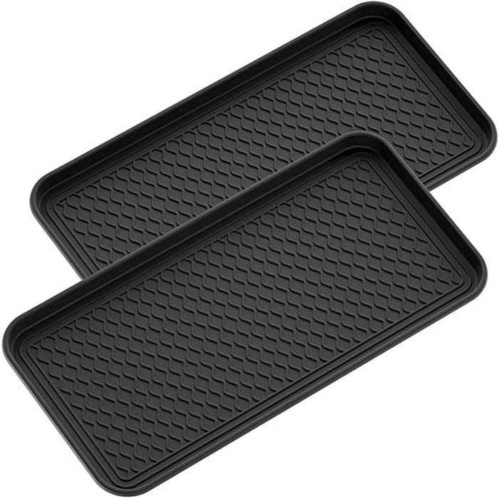 Shoe Mat Tray, 30 x 15 x 1.2 Multi-Purpose Black Tray for All Weather Indoor Or Outdoor Use, Pack of 2
