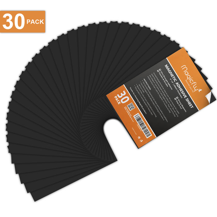 Adhesive Sheet 4 X 6 Inch, Magicfly Pack of 30 Flexible Magnet Sheets with Adhesive, Easy Peel and Stick Self Adhesive