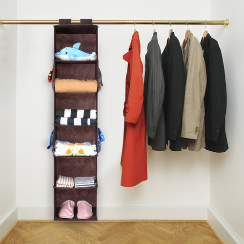 Hanging Closet Organizer with 4 Side Pockets, 6-Shelf Collapsible Closet Hanging Shelf - Magicfly