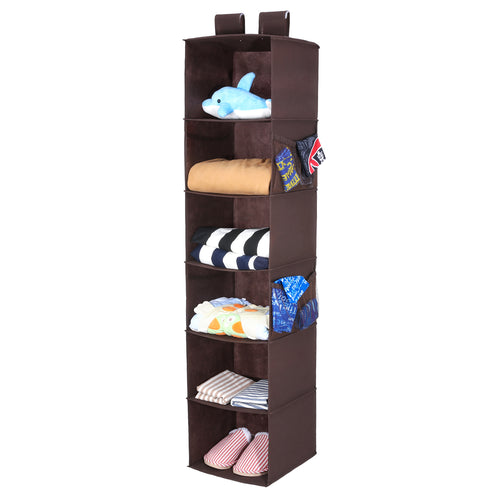 Hanging Closet Organizer with 4 Side Pockets, 6-Shelf Collapsible Closet Hanging Shelf