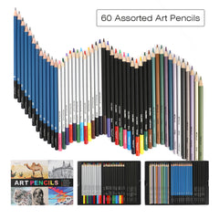 Premium Art Pencils Pack, Magicfly 60 Assorted Pencil Set for Artist, Coloring Pages & Books - Magicfly