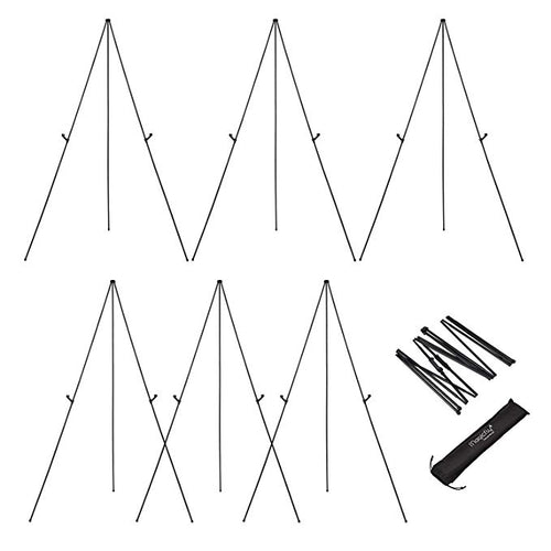 Aluminum Foldable Display Easel, 63 Inch, Telescoping, Black - Pack of 6 - Magicfly
