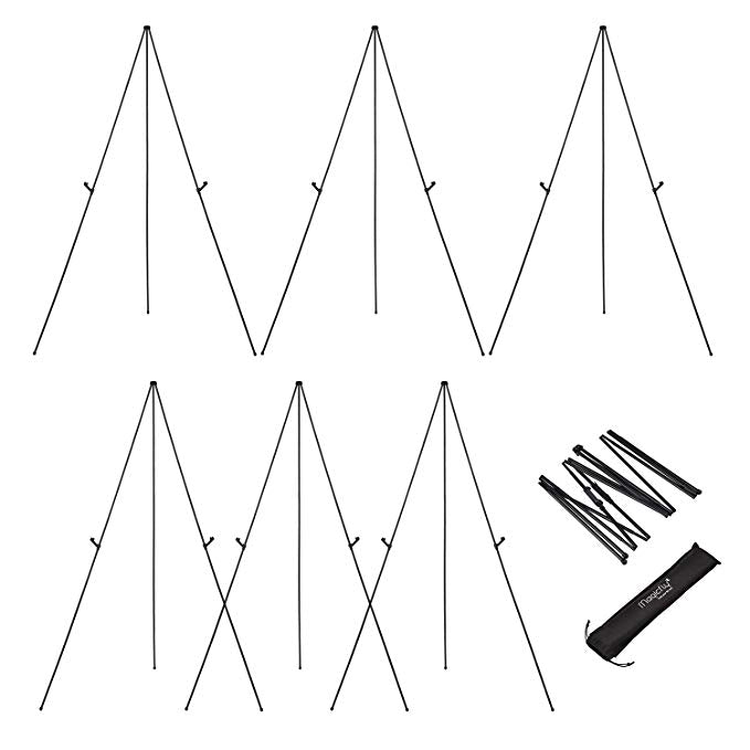 Aluminum Foldable Display Easel, 63 Inch, Telescoping, Black - Pack of 6