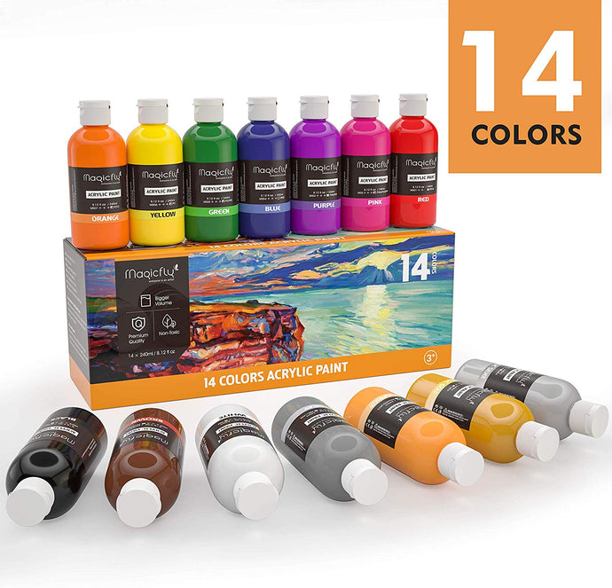 Bulk Acrylic Paint Set, 14 Rich Pigments Colors,,Paints for Painting on Canvas - Magicfly
