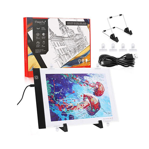 Diamond Painting A4 LED Light Pad, Tracing Light Box for Drawing, Dimmable Light Board Kit with USB Cable