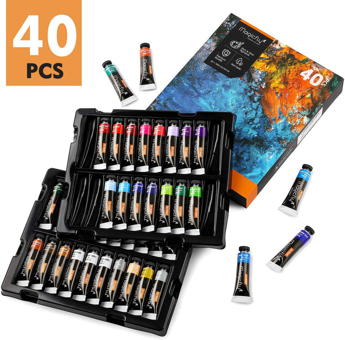 Art Oil Paint Set, 40 Tube, Rich Vibrant & Non-Toxic Paint for Beginners, Professional Artist, Ideal for Canvas Painting - Magicfly