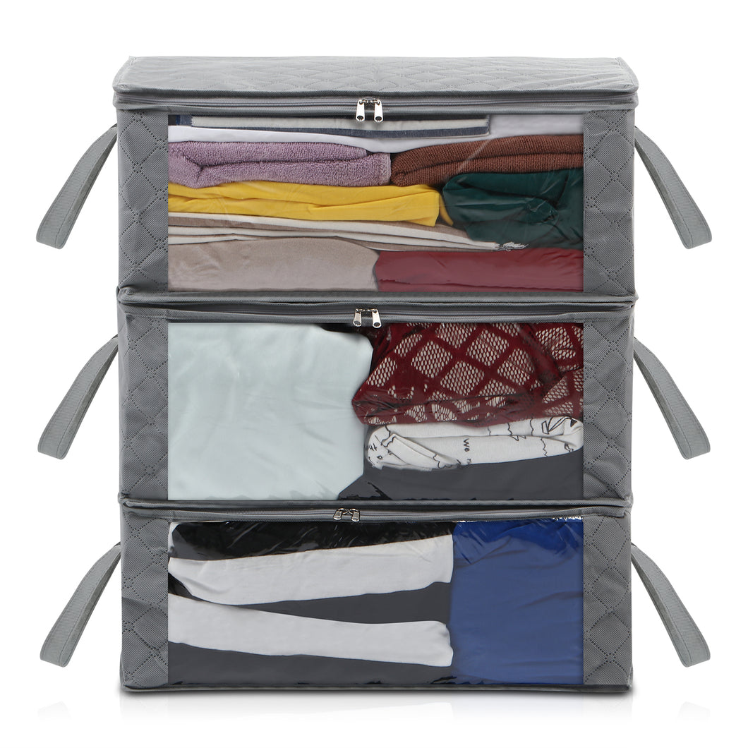 Magicfly Under Bed Clothing Organizer Bag for Closet, Blankets 3pack Gray - Magicfly