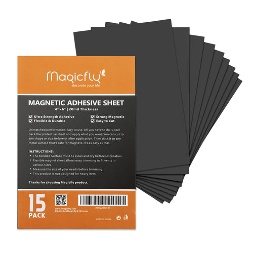 Magnet Sheets with Adhesive 4 X 6 Inch,Pack of 15 - Magicfly