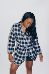 Midnight Oversized Slanted Flannel - Shop Mondae
