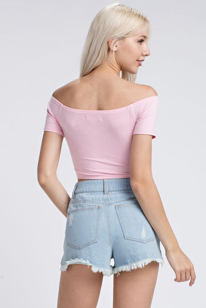 Off The Shoulder Crop - Shop Mondae