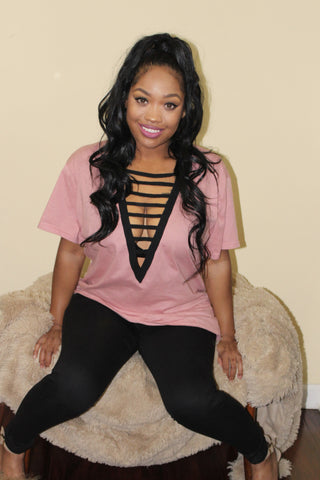 Pink Lace Up Tee - Shop Mondae