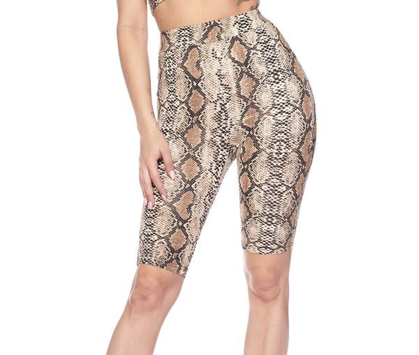 Jungle Snake Skin Biker Shorts - Shop Mondae