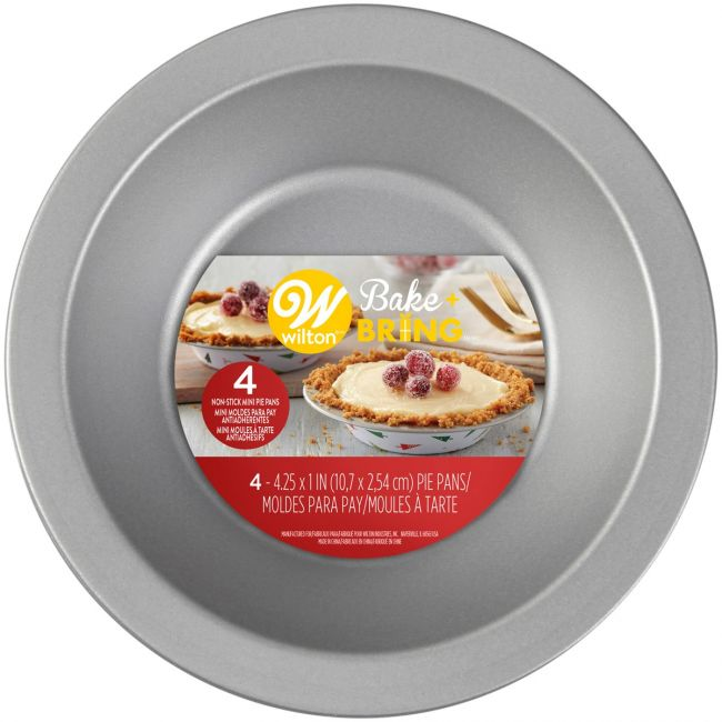 Mini moldes antiadherente Wilton, bake+bring mini pie x4