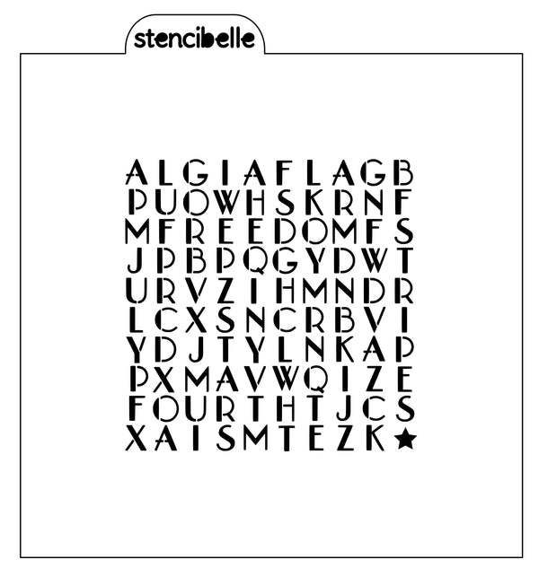 Fourth of July Word Search Stencil