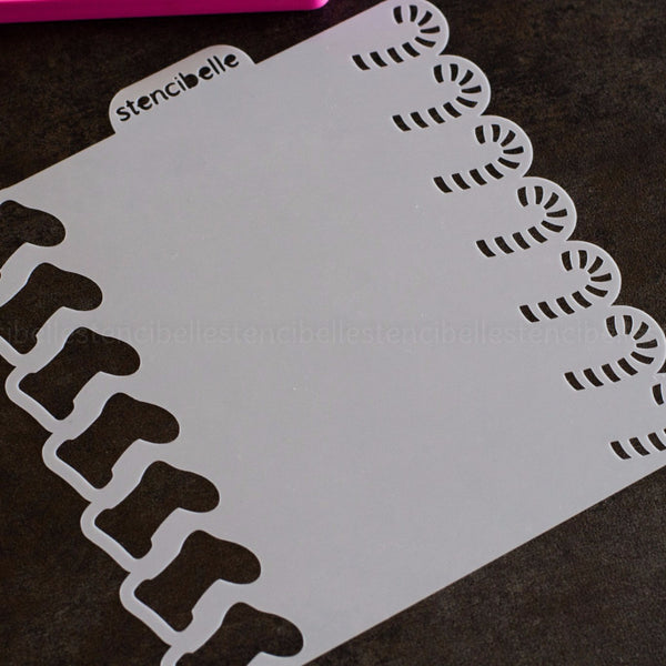 Candy Cane / Stocking Double-Ended Stencil