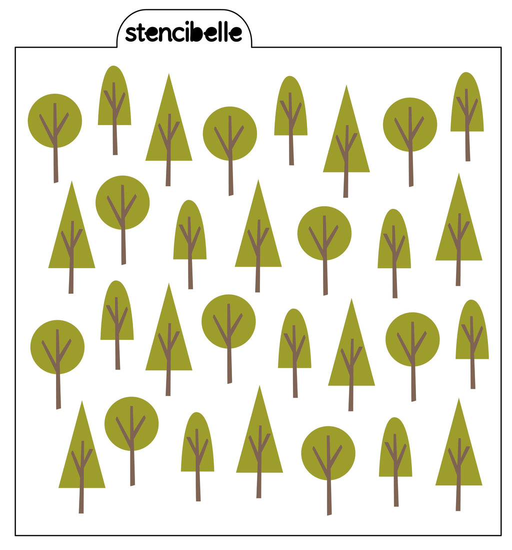 Woodland Trees Stencil Set - 2pc or 4pc Available