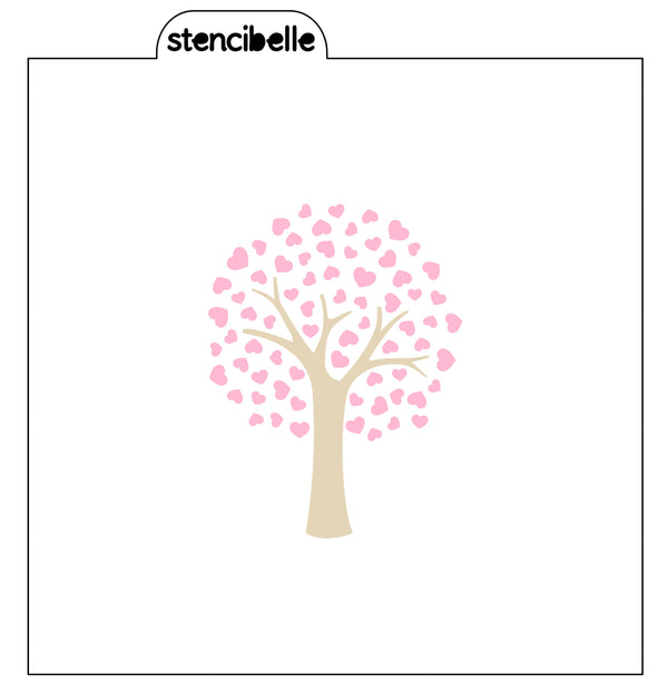 Love Heart Tree Two Piece Stencil Set