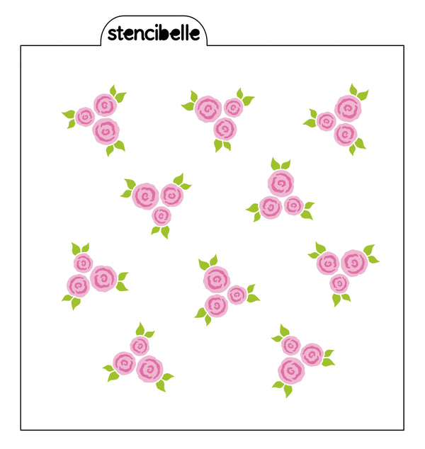Mini English Roses Stencil 3 piece set