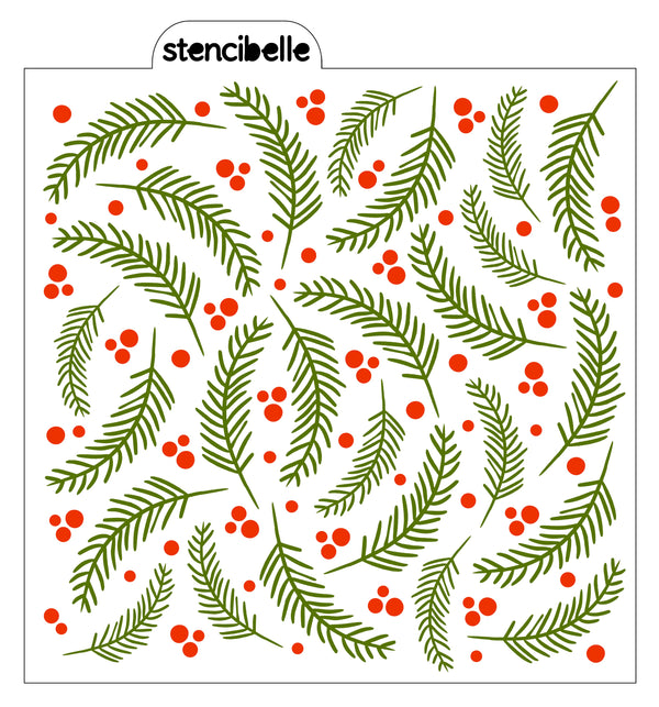 Pine Needles Background Stencil - Options Available
